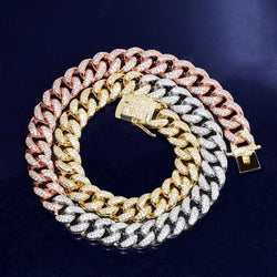 12mm Mixed Color Iced Cuban Choker Chain