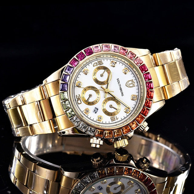 Luxury Diamond Quartz Watch Stainless Steel