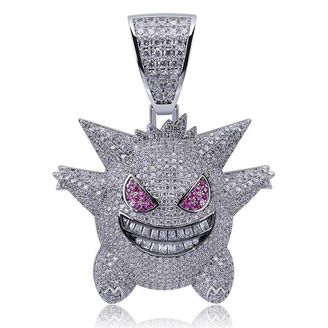Iced Gengar Necklace Pendant 14K Gold Plated