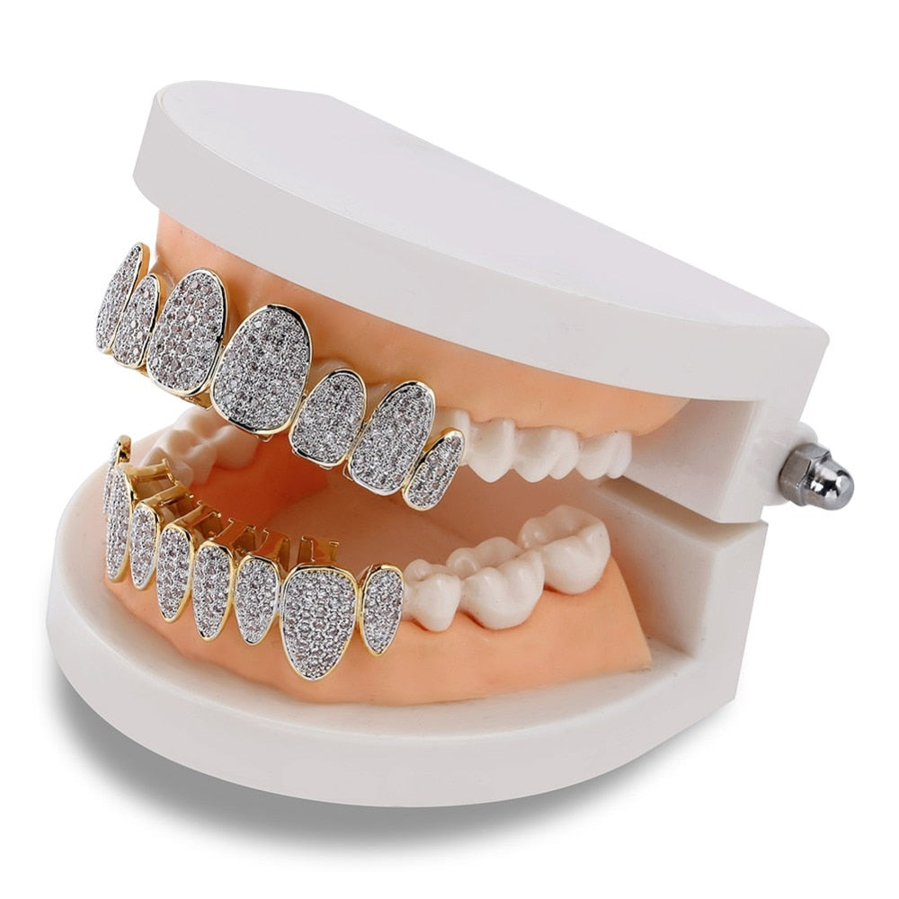 New Arrival Hip Hop Iced Out Silver Teeth Grillz