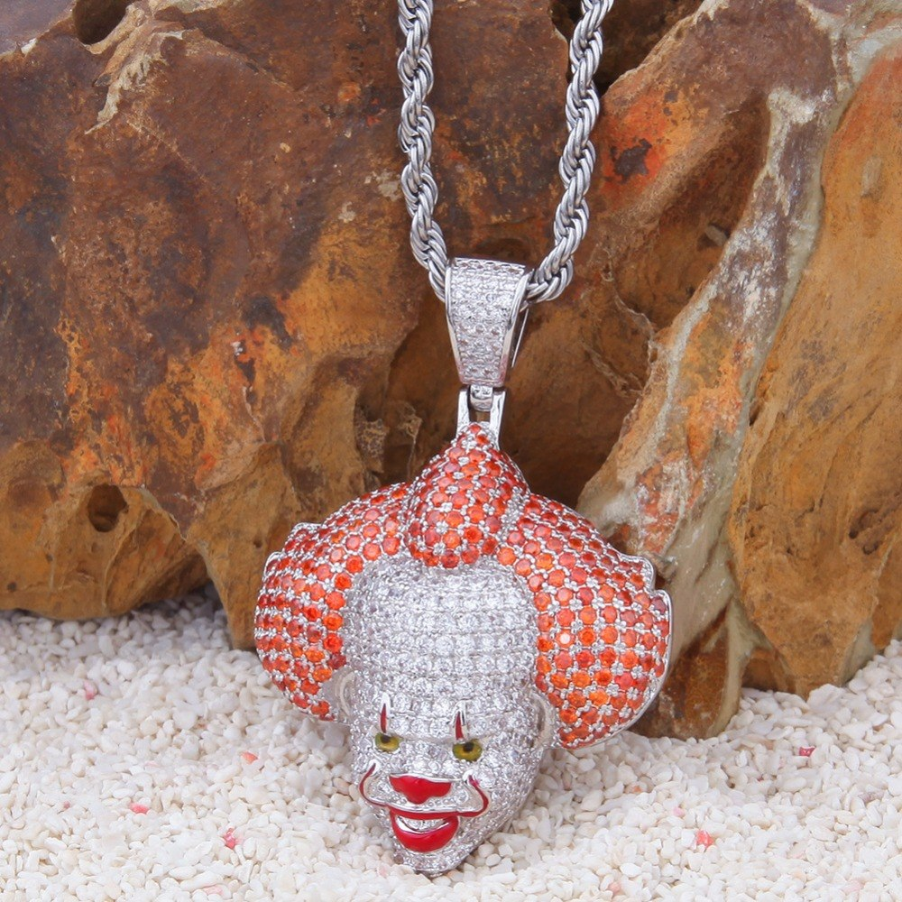 18K Gold Finish S925 Silver Iced Out Pennywise Pendant