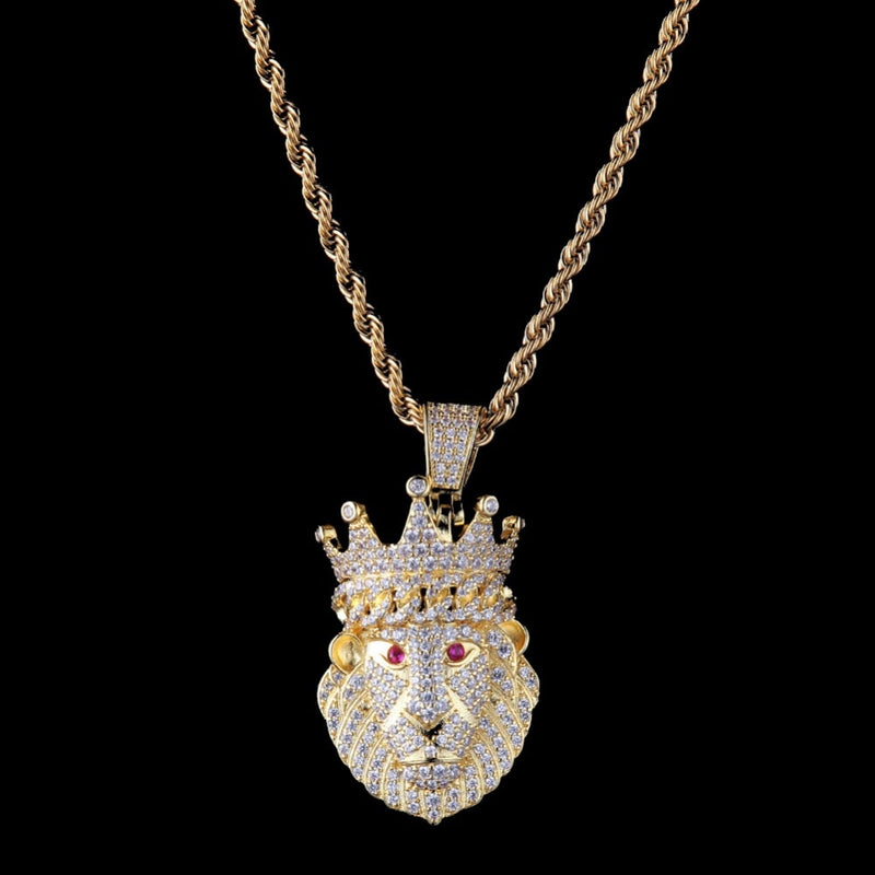 Lion Red Eyes Pendant 18k Gold Plated