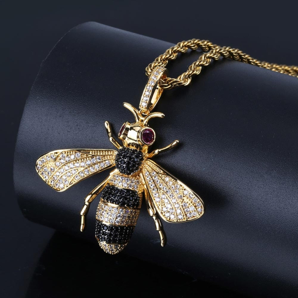 18K Gold Finish S925 Silver Bee Necklace Pendant
