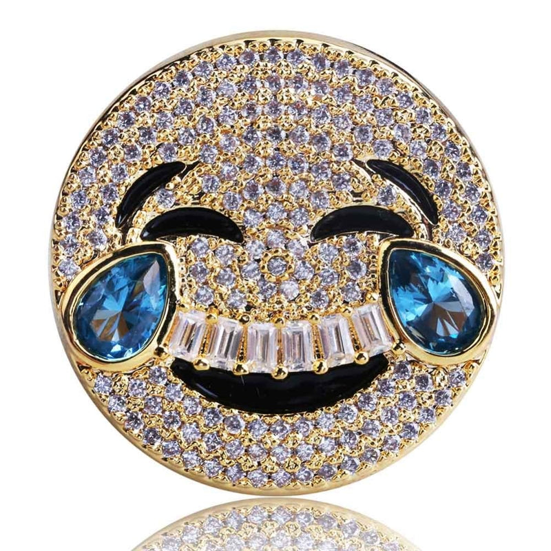 Iced Laughing Sad Emoji Ring 18K Gold Plated