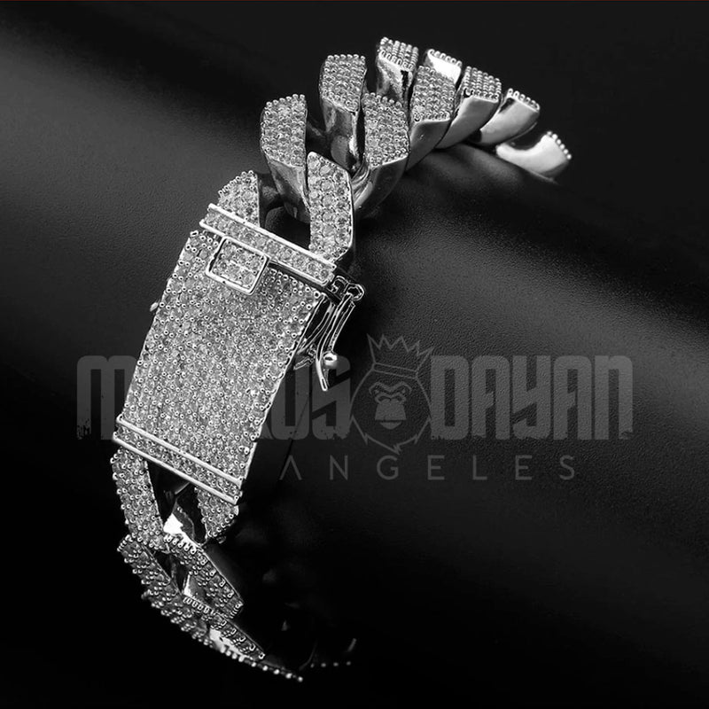 20mm Iced Cuban Prong Bracelet