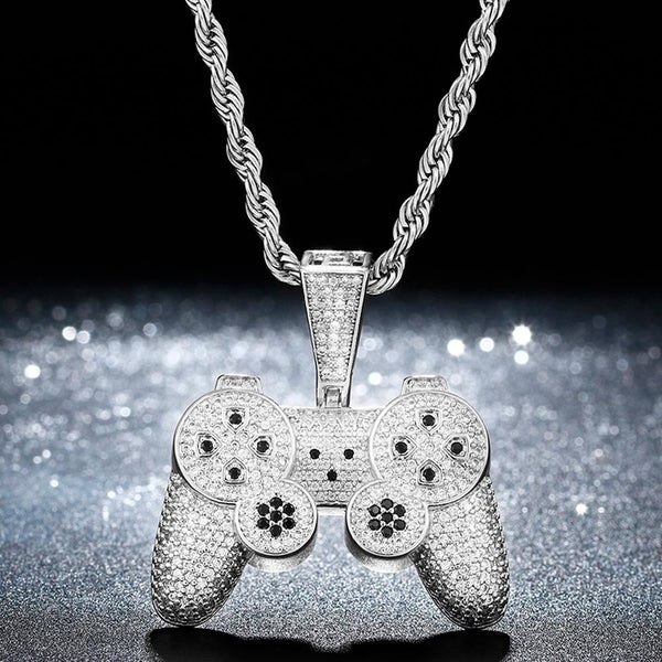 Iced Game PS Controller Pendant 14K Gold