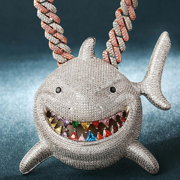 Large Iced Shark 6ix9ine Rainbow Teeth Pendant 14K Gold