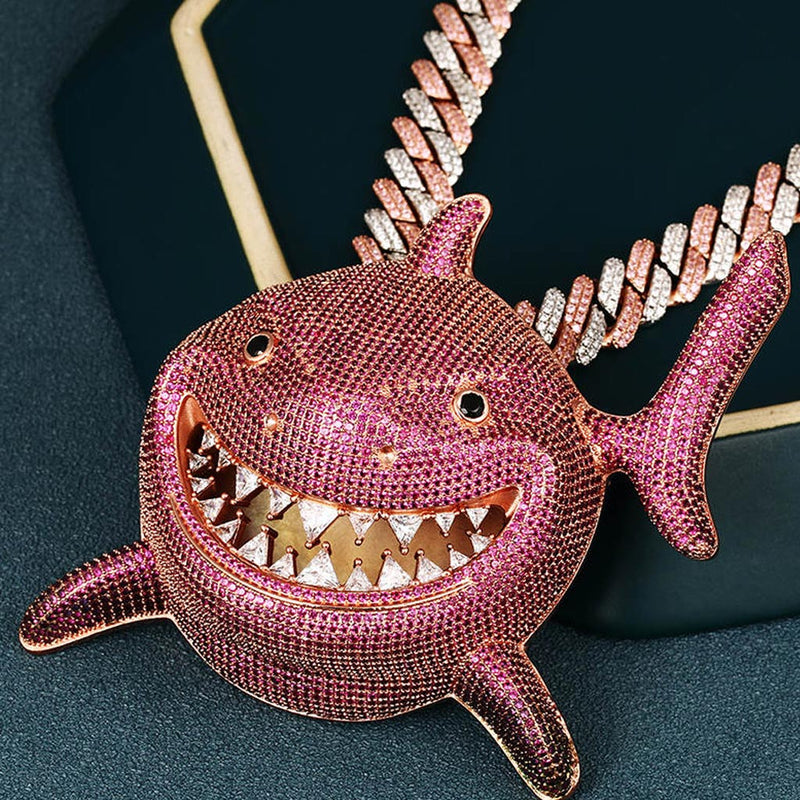 【Presale】Large Iced Shark 6ix9ine Pink Pendant 14K Gold