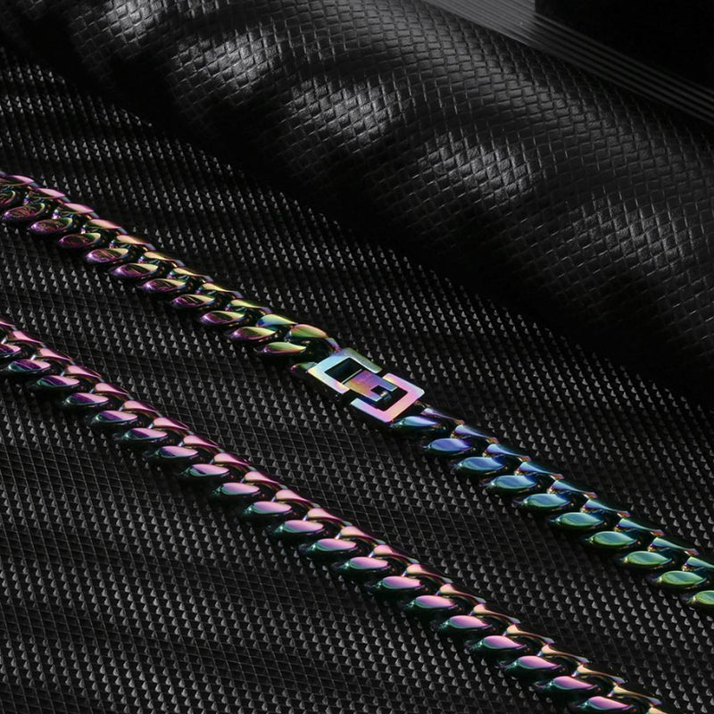 8mm Stainless Steel Rainbow Miami Cuban Link Bundle Chain&Bracelet