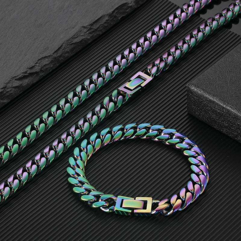 10mm Stainless Steel Rainbow Miami Cuban Link Bundle Chain&Bracelet