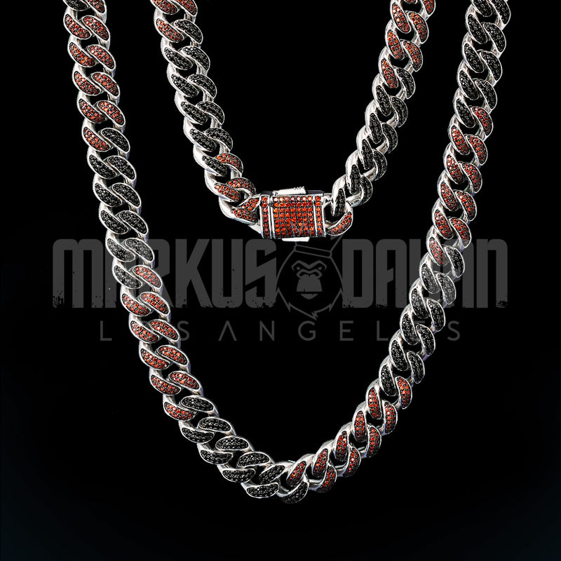 12mm Red/Black Iced Out Miami Cuban Link Chain
