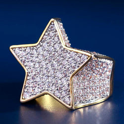 Iced Star Diamond Ring 14K Gold Plated