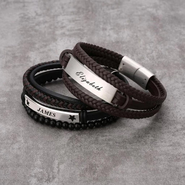 Stacked Personalized Leather Bracelet