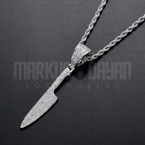 Iced Savage Knife Pendant 14K Gold Plated