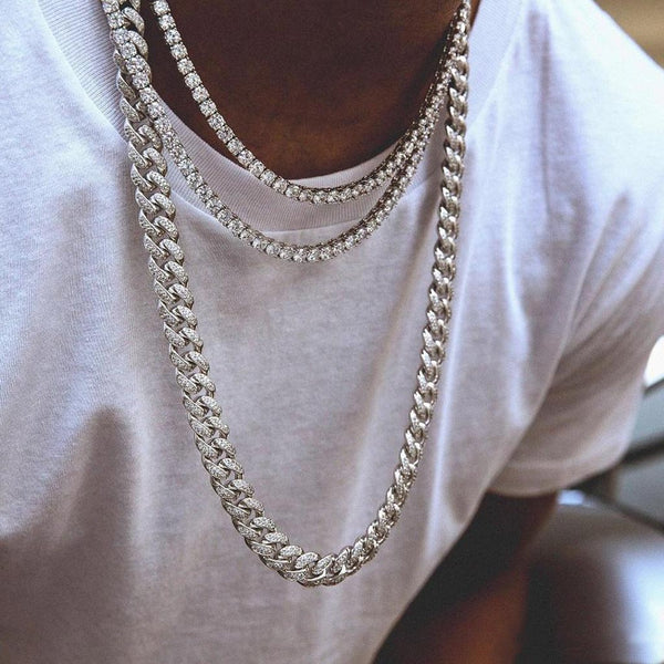 12mm Iced Cuban Chain and Diamond Tennis Chain Premium Set