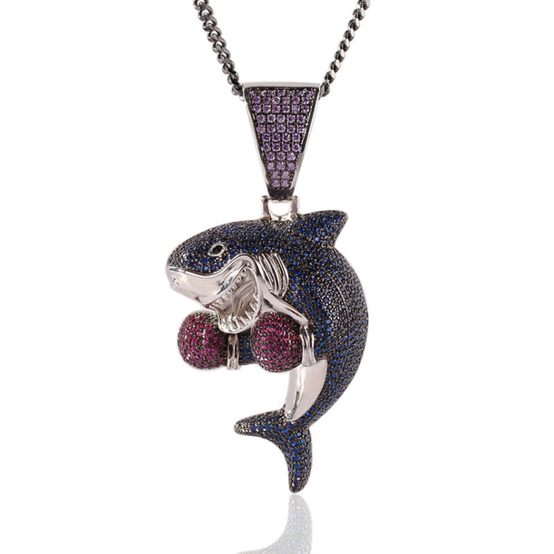 Iced Blue Diamonds Boxing Shark Pendant 14k Gold Plated