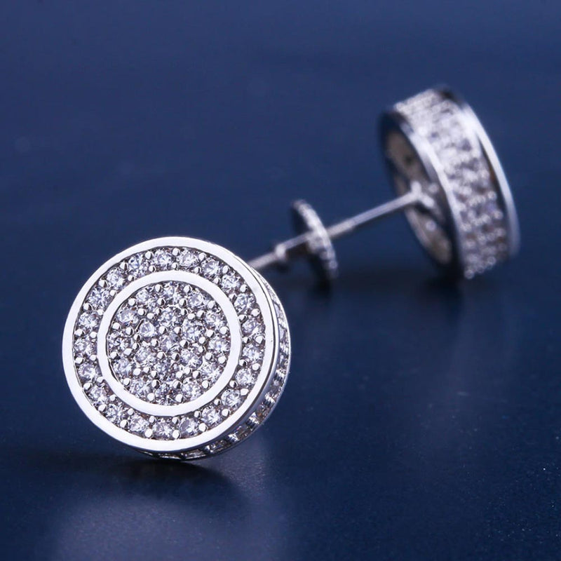 Iced Round Shape Stud Earrings White Gold Plated