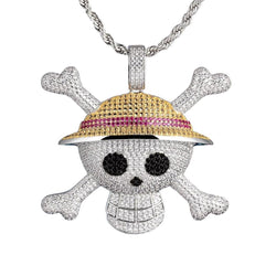 Iced Cartoon Skull&Cross Bones Pendant 14K Gold Plated