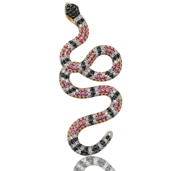 Iced Twisted Snake Pendant 14K Gold Plated