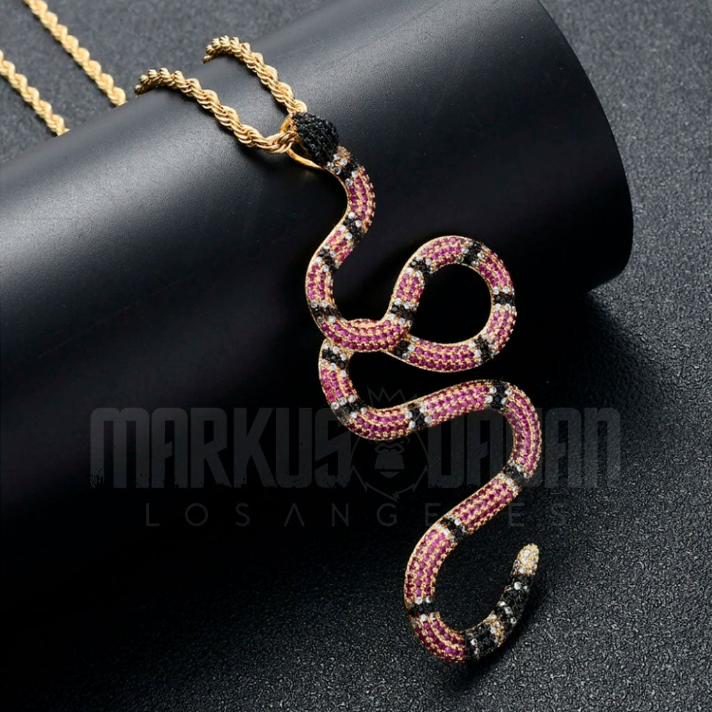 18K Gold Finish S925 Silver Twisted Iced Snake Pendant