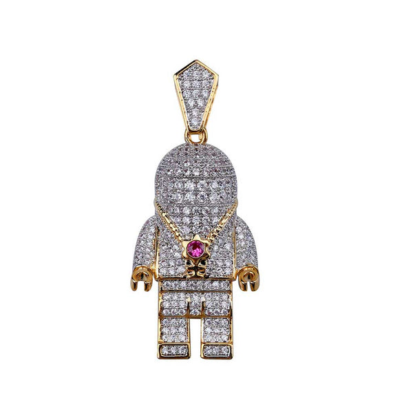 Iced Silver Astronaut Pendant 14k Gold Plated