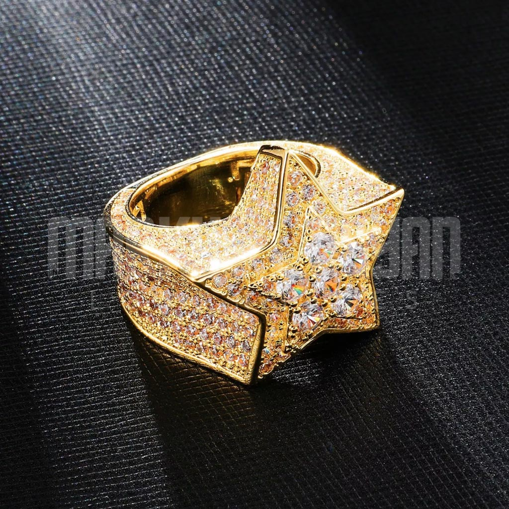 18K Gold Iced Out Luxury Star Geometric Ring