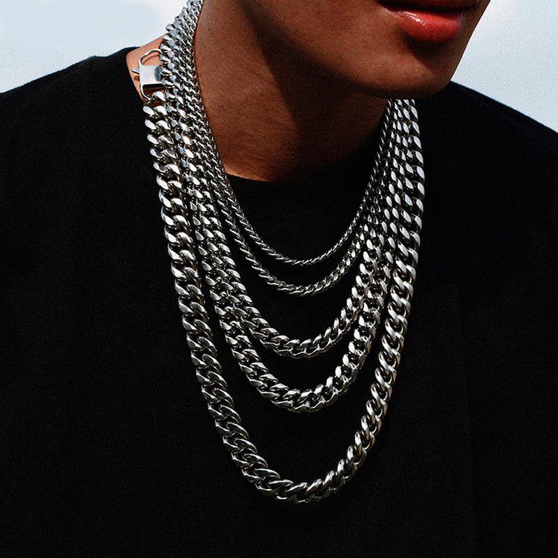 Stainless Steel Miami Cuban Link Chain Necklace