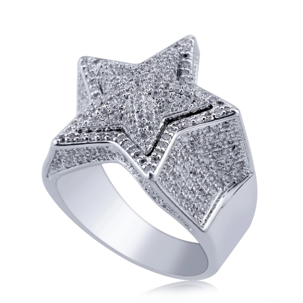 Iced Out CZ Star Ring Bling Solid Five