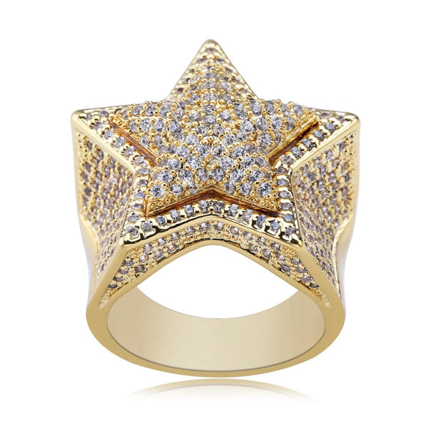 Iced CZ Star Ring Bling Solid Five