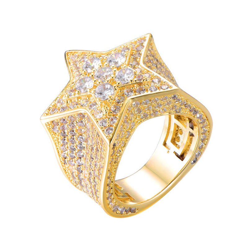 Iced Star Ring Geometric 18K Gold Plated