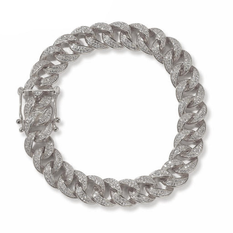 12mm S925 Real Sterling Silver Iced Cuban Bracelet