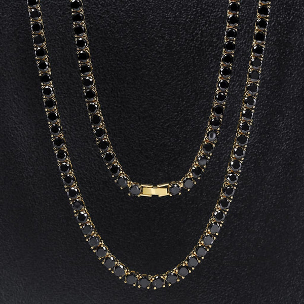 5mm 14K Gold Round Cut Black Tennis Chain