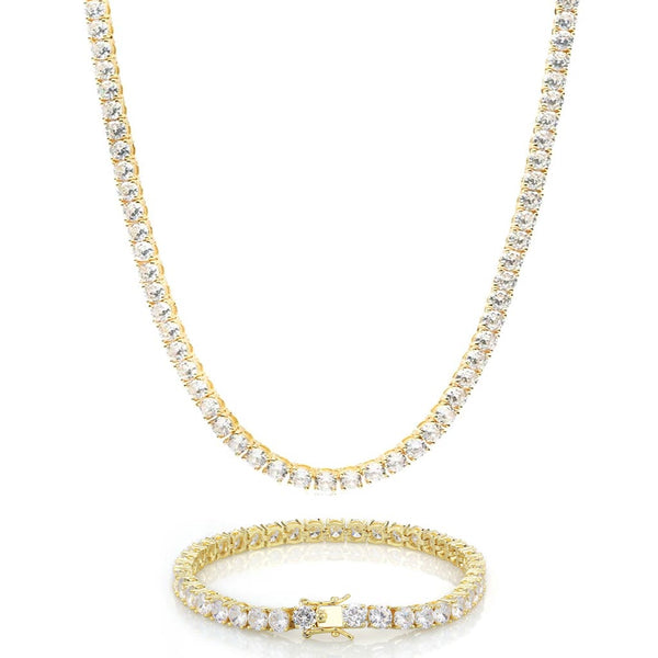 18K Gold 5mm Iced Tennis Diamond Set Bundle