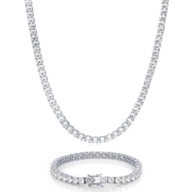 925 Sterling Silver 4mm Iced Tennis Diamond Set Bundle