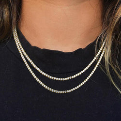 18K Gold Iced Tennis Diamond Chain for women