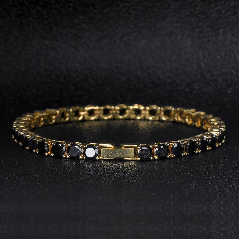5mm 14K Gold Round Cut Black Tennis Bracelet