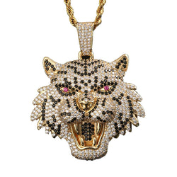 Iced Tiger Head Pendant 14K Gold Plated
