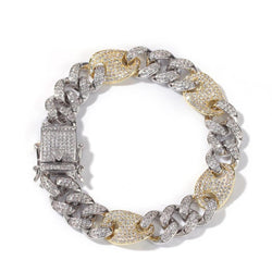 13mm 14K Gold Two-Tone Lock Cuban Bracelet