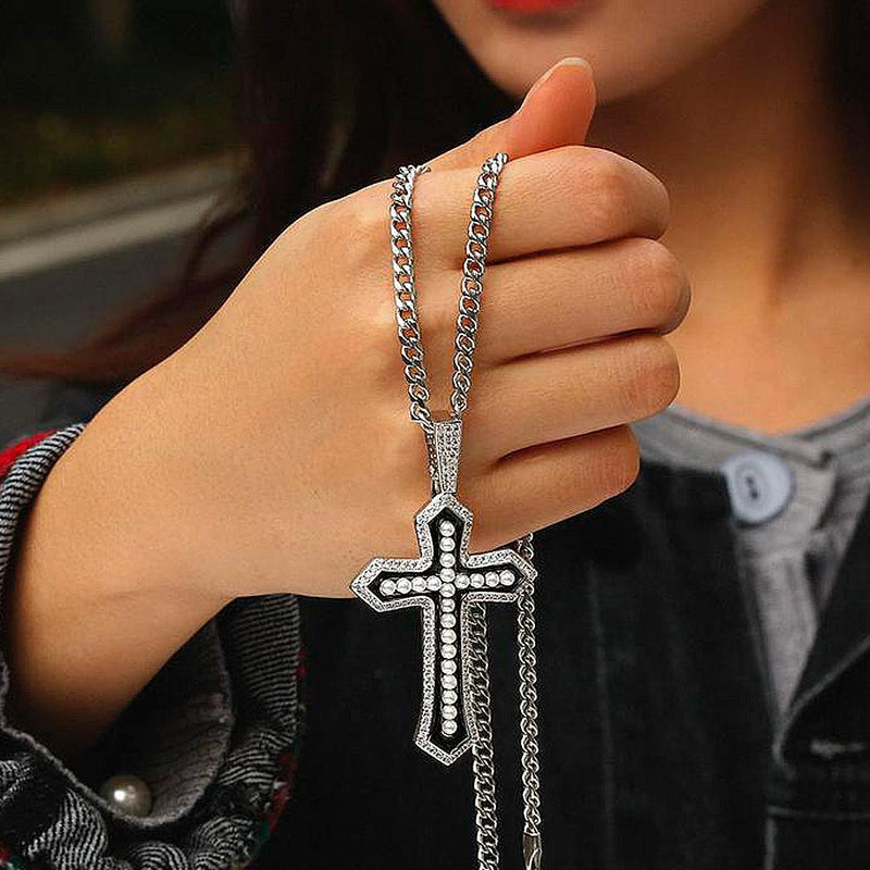 Iced Pearl Cross Necklace with Diamond in White Gold/14K Gold