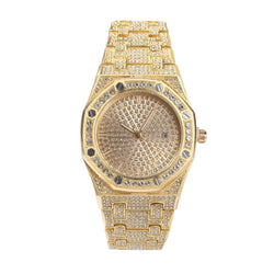 Iced Watch Luxury Big Dial Round Quartz 18K Gold  Plated