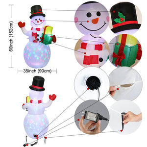 OurWarm 5ft Christmas Inflatables Blow Up Yard Decorations, Upgraded Snowman Inflatable with Rotating LED Lights for Christmas Decorations Indoor Outdoor Yard Garden Decorations