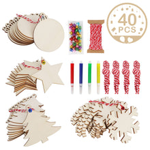 Load image into Gallery viewer, Ourwarm 40 Pcs Christmas Tree Ornaments Custom DIY Christmas Craft Slices Wooden Hanging Bauble