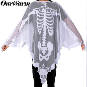 PartyTalk Halloween Poncho White Lace Skeleton Poncho for Women, Day of The Dead Costume