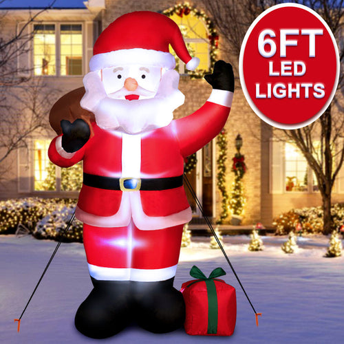 OurWarm Indoor Outdoor Garden Christmas Decorations 6ft Natal Inflatables Santa Claus With LED Lights