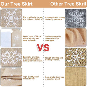 OurWarm 48 Inch Countryside Burlap Tree Skirt Christmas White Snowflake Printed Xmas New Year Holiday Decorations Indoor Outdoor