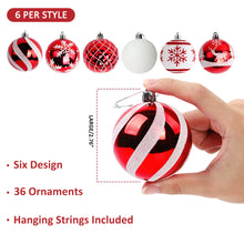 "Load image into Gallery viewer, Aytai 36ct Christmas Ball Ornaments Shatterproof Christmas Tree Decorations Balls Small 70mm/2.76"" for Christmas Tree Holiday Wedding Party Decorations (Red and White)"