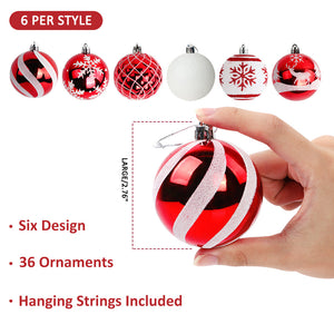 "Aytai 36ct Christmas Ball Ornaments Shatterproof Christmas Tree Decorations Balls Small 70mm/2.76"" for Christmas Tree Holiday Wedding Party Decorations (Red and White)"