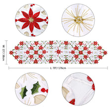 Load image into Gallery viewer, OurWarm Christmas Embroidered Table Runners Poinsettia Holly Leaf Table Linens for Christmas Decorations 15 x 69 Inch