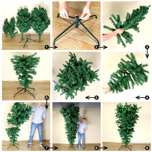 Aytai 7ft Hanging Upside Down Artificial Christmas Trees with 1000 Branch Tips, Green PVC Xmas Tree with Foldable Metal Stand for Indoor Outdoor Holiday Christmas Decorations