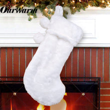 Load image into Gallery viewer, Ourwarm 2020 New Design Christmas Stocking Ornaments Decoration White Full Faux Fur Christmas Stockings Socks